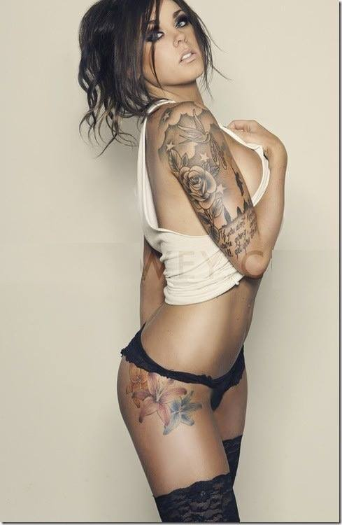 sexy tattooed brunette