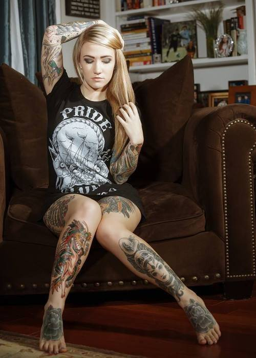 Hottie Blonde Leg tattoo