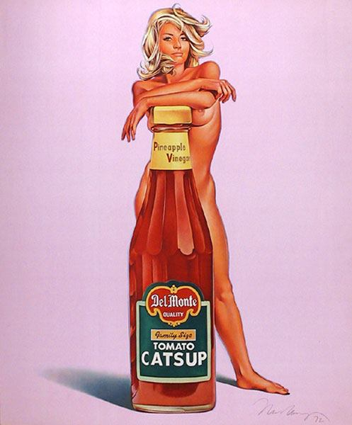 catsup pin up model with bottle