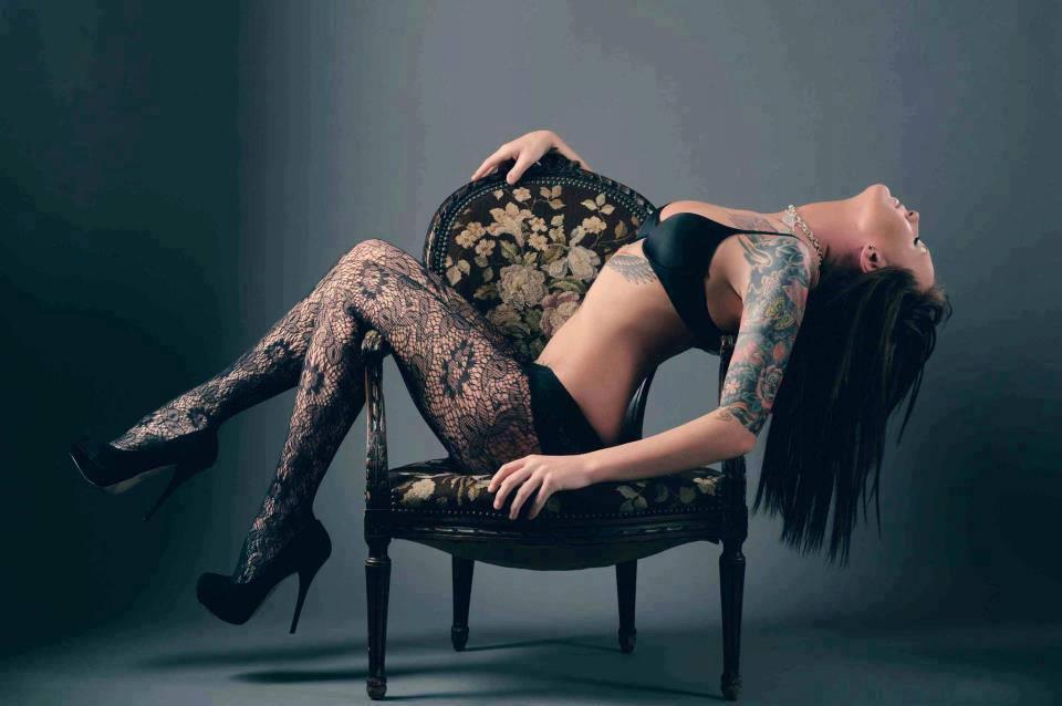 tattoo model in tights